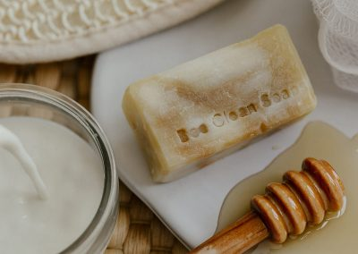 Close up of soap bar with milk and honey ingredients